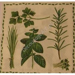 Serwetki do decoupage - zioła i kreseczki