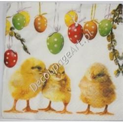 Serwetki do decoupage - trzy kurczaczki i pisanki