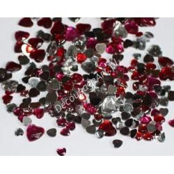 Elementy dekoracyjne serca czerwone i przezroczyste mix