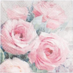 Serwetki do decoupage - pastelowe róże 25x25