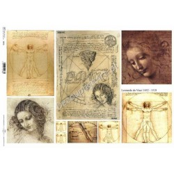 Papier do decoupage ITD SOFT A3 002 - Leonardo da Vinci