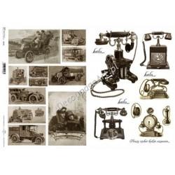 Papier do decoupage ITD SOFT A3 007 - Stare samochody i telefony