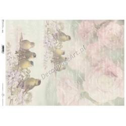 Papier do decoupage ITD SOFT A3 022 - Róże i ptaszki