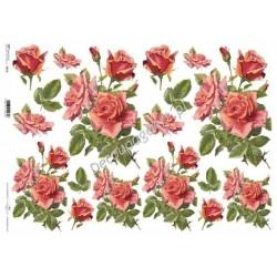 Papier do decoupage ITD SOFT A3 025 - Czerwone róże