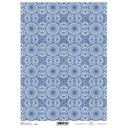 Papier do decoupage ITD SOFT 077 - Niebieskie ornamenty