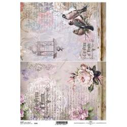 Papier do decoupage ITD SOFT 255 - Róże i ptaszki