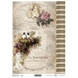 Papier do decoupage ITD SOFT 259 - Róże i ptaszki