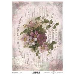 Papier do decoupage ITD SOFT 262 - Bukiet kwiatów i pismo