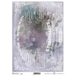 Papier do decoupage ITD SOFT 263 - Bukiet kwiatów i pismo