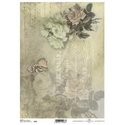 Papier do decoupage ITD SOFT 266 - Róże i pismo
