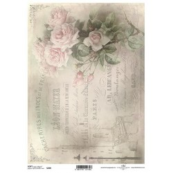 Papier do decoupage ITD SOFT 269 - Róże i pismo