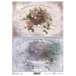 Papier do decoupage ITD SOFT 273 - Kwiaty i napisy