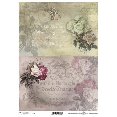 Papier do decoupage ITD SOFT 275 - Róże i napisy