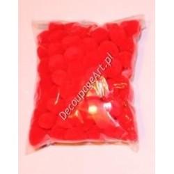 Pompony akrylowe 10 mm czerwone 100 szt