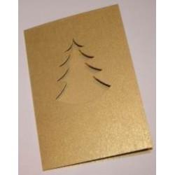 Kartka passe-partout choinka złota błyszcząca