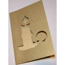 Kartka passe-partout świeca złota błyszcząca