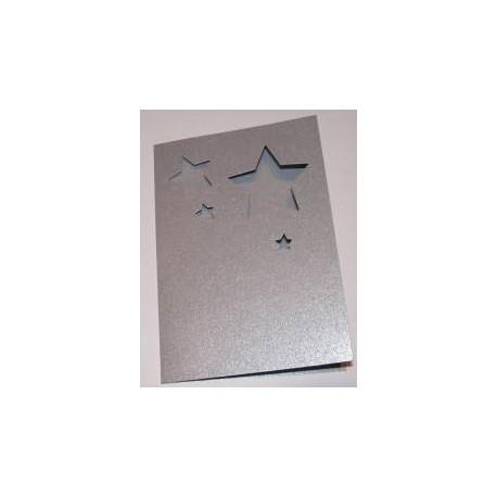 Kartka passe-partout gwiazdki srebrne błyszczące