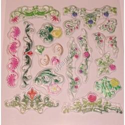 Komplet przezroczystych stempli - Motywy kwiatowe
