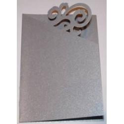 Kartka passe-partout ornament srebrna błyszcząca