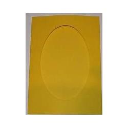 Kartka passe-partout oval żółta