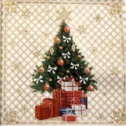 Serwetki do decoupage - choinka z prezentami