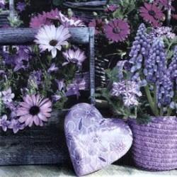 Serwetki do decoupage -serce i kwiaty