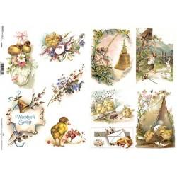 Papier do decoupage ITD 387 - Pisklaki i delikatne kwiatki