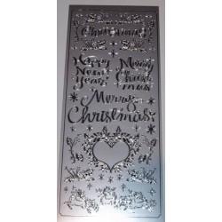 Naklejki samoprzylepne Merry Christmas serce srebrne
