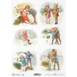Papier ryżowy ITD Collection 1001 zimowe dzieci