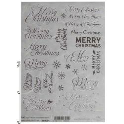Papier ryżowy ITD Collection RH 0004 Świąteczne srebrne napisy