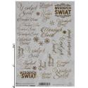 Papier ryżowy ITD Collection RH 0007 Wesołych Świąt złote napisy