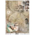 Papier ryżowy ITD Collection 1322 Żaglowiec, mapy i kapitan