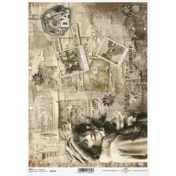 Papier ryżowy ITD Collection 1323 pocztówki w sepii