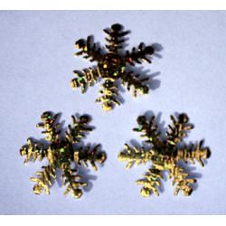 Śnieżynki z mikrogumy brokatowej - złote