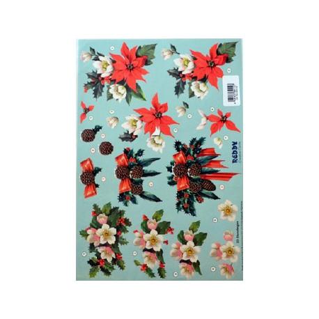 Motywy 3D Boże Narodzenie do dekorowania kartek 036 -mikołaj dom