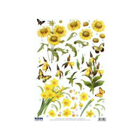 arkusz z naciętymi motywami do techniki 3D - żółte kwiaty