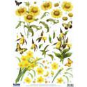Arkusz z naciętymi motywami do techniki 3D żółte kwiaty x 3