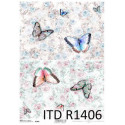 Papier ryżowy ITD Collection 1406 Motyle i róże