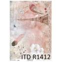 Papier ryżowy ITD Collection 1412 różowy Paryż