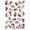 Papier ryżowy ITD Collection 1338 drobne różyczki